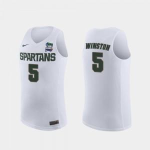 Cassius Winston MSU Jersey #5 For Men 2019 Final-Four Replica White 118155-343