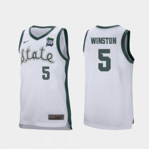 Cassius Winston MSU Jersey White 2019 Final-Four For Men's #5 Retro Performance 243154-166