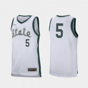 #5 College Basketball Mens Cassius Winston MSU Jersey Retro Performance White 915947-150