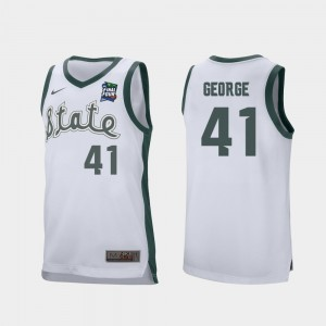 #41 Men Conner George MSU Jersey 2019 Final-Four White Retro Performance 535894-260