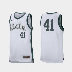 Retro Performance College Basketball Men's White #41 Conner George MSU Jersey 927928-757