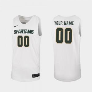 White 2019-20 College Basketball #00 For Men's MSU Custom Jerseys Replica 968800-484