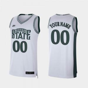 Men MSU Custom Jerseys #00 College Basketball Retro Limited White 250799-410