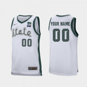 MSU Customized Jerseys White #00 Retro Performance Men 2019 Final-Four 558308-644