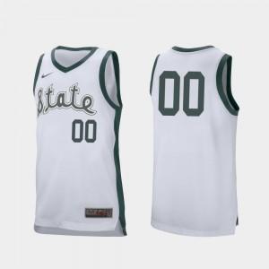College Basketball Retro Performance For Men #00 MSU Customized Jersey White 778560-789