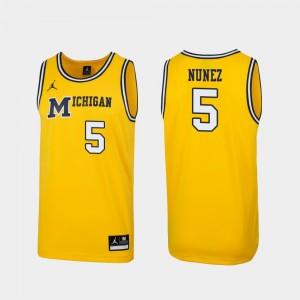 #5 1989 Throwback College Basketball Adrien Nunez Michigan Jersey Replica Maize Men's 259121-898