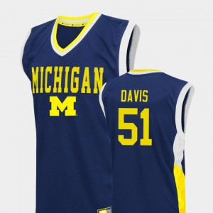 College Basketball #51 Fadeaway Austin Davis Michigan Jersey For Men Blue 663201-909