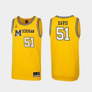 Replica Maize Austin Davis Michigan Jersey For Men's #51 1989 Throwback College Basketball 904617-240