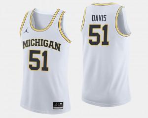 Men #51 College Basketball Austin Davis Michigan Jersey White 406774-632