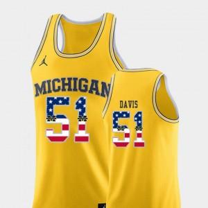 Yellow Austin Davis Michigan Jersey #51 Mens USA Flag College Basketball 878428-852