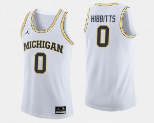 Brent Hibbitts Michigan Jersey College Basketball White #0 Men 619410-834