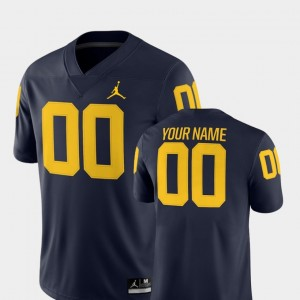 For Men College Football 2018 Game #00 Michigan Customized Jerseys Navy 451638-478