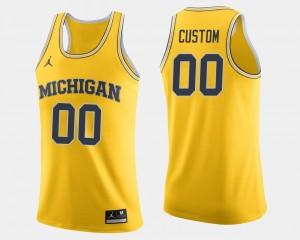 Michigan Custom Jersey #00 College Basketball Maize Men's 523400-114