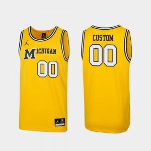Michigan Customized Jersey Men #00 1989 Throwback College Basketball Replica Maize 538739-195