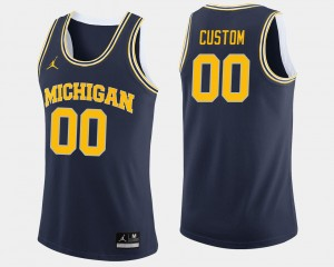 #00 Navy College Basketball Michigan Customized Jerseys Men's 584788-376