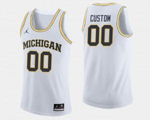 White Men's College Basketball Michigan Customized Jersey #00 491972-733