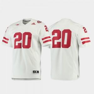 Football #20 Nebraska Jersey White Premier For Men's 462840-528