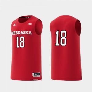 Basketball Swingman College Replica Nebraska Jersey For Men's Scarlet #18 362142-463