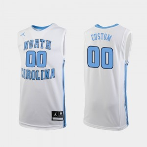 For Men's Replica UNC Custom Jersey College Basketball White #00 967619-293
