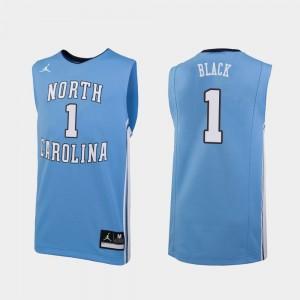 #1 For Men's Leaky Black UNC Jersey College Basketball Replica Carolina Blue 536037-849