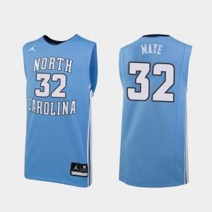 #32 College Basketball Luke Maye UNC Jersey For Men Carolina Blue Replica 559990-418