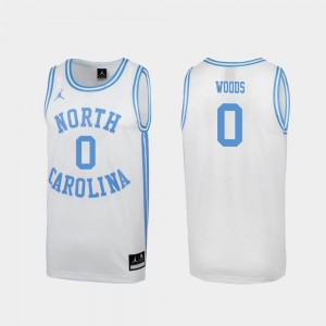 Special College Basketball Seventh Woods UNC Jersey White #0 March Madness Men 395203-172