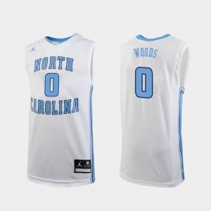 College Basketball White Seventh Woods UNC Jersey Men's Replica #0 618324-264