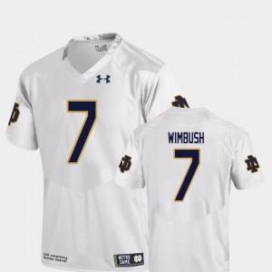College Football For Men's Brandon Wimbush Notre Dame Jersey White Replica #7 862239-782