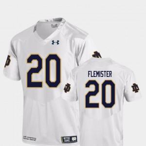 C'Bo Flemister Notre Dame Jersey #20 Men's White Replica College Football 315205-556