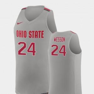 Pure Gray Replica College Basketball For Men's Andre Wesson OSU Jersey #24 361185-639