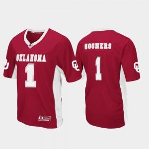 Max Power For Men's #1 Football Crimson OU Jersey 119975-866