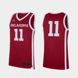 Men's #11 OU Jersey College Basketball Crimson Replica 217967-151