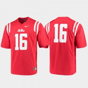 #16 Game College Football Red For Men Ole Miss Jersey 473694-609