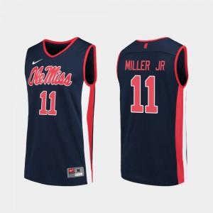 College Basketball #11 Replica Mens Navy Franco Miller Jr. Ole Miss Jersey 492134-602