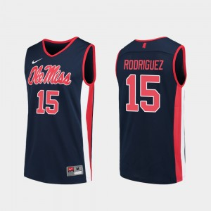 Navy College Basketball For Men's Luis Rodriguez Ole Miss Jersey #15 Replica 671690-618