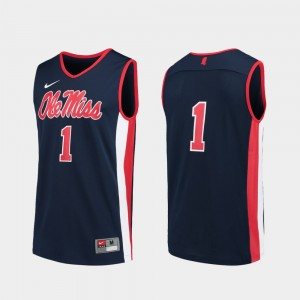 Replica College Basketball #1 For Men Ole Miss Jersey Navy 669304-381