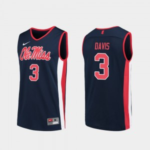 #3 Men's College Basketball Navy Terence Davis Ole Miss Jersey Replica 146393-190