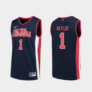 Replica #1 Men Navy College Basketball Zach Naylor Ole Miss Jersey 188934-951