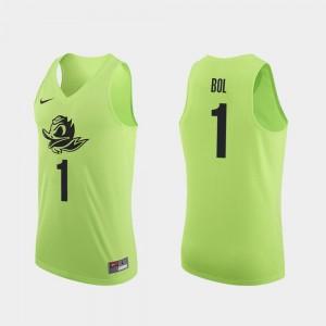 Authentic #1 Bol Bol Oregon Jersey Apple Green Men's College Basketball 799013-464