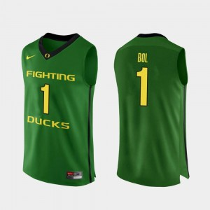 #1 Apple Green College Basketball Bol Bol Oregon Jersey For Men's Authentic 357240-111