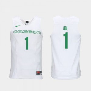 Elite Authentic Performance College Basketball #1 Men White Authentic Performace Bol Bol Oregon Jersey 223007-939