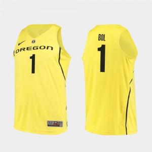 Authentic Yellow College Basketball Bol Bol Oregon Jersey #1 Men 696508-343