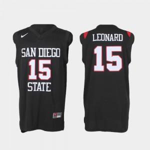 College Basketball Authentic Black #15 Men Kawhi Leonard San Diego State Jersey 553831-656