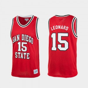 Red College Basketball Kawhi Leonard San Diego State Jersey For Men's Authentic #15 350792-461