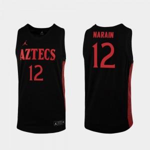 Men #12 Black Nolan Narain San Diego State Jersey 2019-20 College Basketball Replica 790255-790