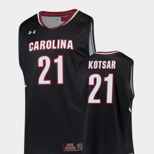 Black For Men's College Basketball #21 Maik Kotsar South Carolina Jersey Replica 161300-275
