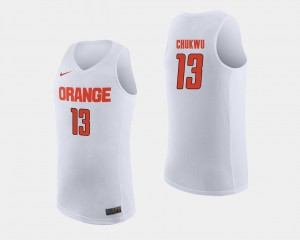 White For Men College Basketball #13 Paschal Chukwu Syracuse Jersey 177968-750