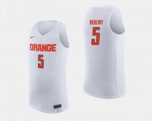 Patrick Herlihy Syracuse Jersey Men College Basketball White #5 147125-938