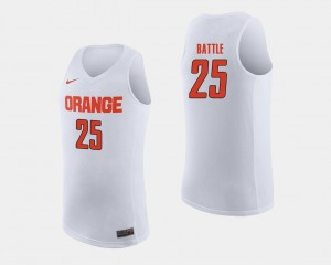 #25 Men's Tyus Battle Syracuse Jersey White College Basketball 549476-743