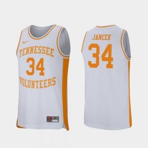 For Men's Retro Performance White Brock Jancek UT Jersey College Basketball #34 116824-186